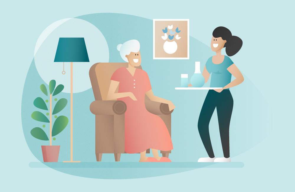 aide à domicile qui apporte à boire à une femme âgée