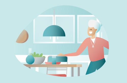 personne âgée à son domicile